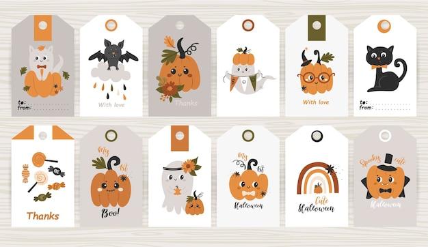 Conjunto de tags com itens e abóbora de halloween.