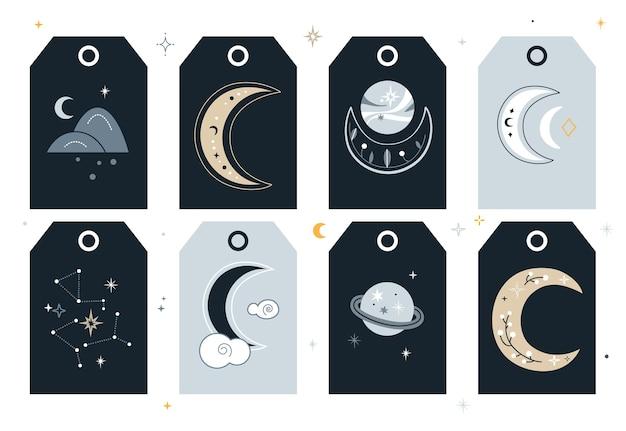 Conjunto de tags criativas com lua crescente e planetas.