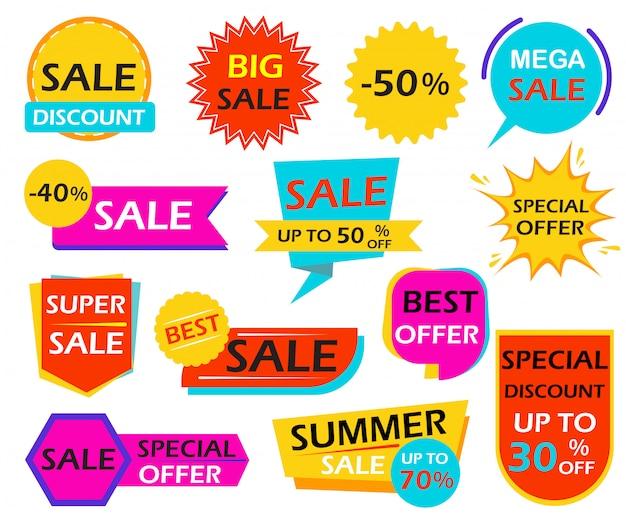 Conjunto de tags de elemento de design de banner de venda