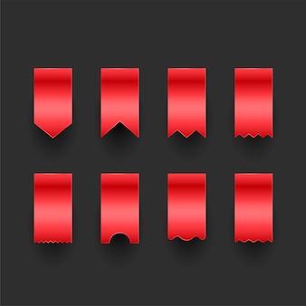 Conjunto de tags de fita vermelha