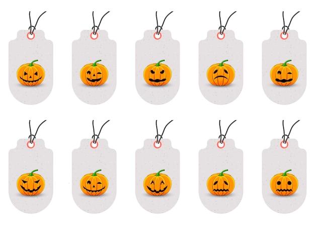 Conjunto de tags de halloween para produtos de férias em um fundo branco. estilo de desenho animado. vetor.
