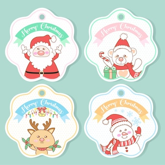 Conjunto de tags de natal fofo