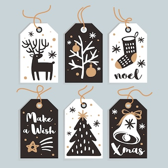 Conjunto de tags de presente de natal fofo e cartões