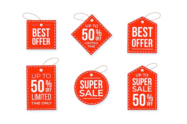 Conjunto de tags de venda de design plano com ofertas especiais