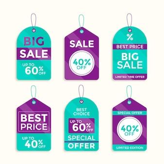 Conjunto de tags de venda de design plano