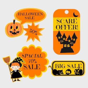Conjunto de tags de venda de halloween.