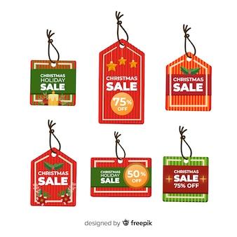 Conjunto de tags de venda de natal