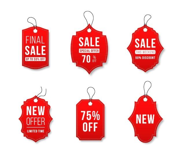 Conjunto de tags de venda e rótulos de modelos de rótulos de compras