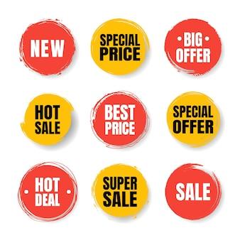 Conjunto de tags de venda. selos, emblemas e banners do grunge. garantia de qualidade premium, best-seller, melhor escolha, venda, oferta especial. banners e adesivos.