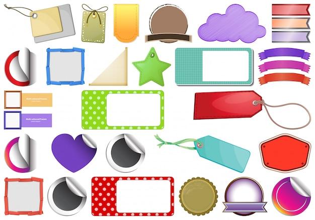 Conjunto de tags, etiquetas, emblemas, adesivos e fitas
