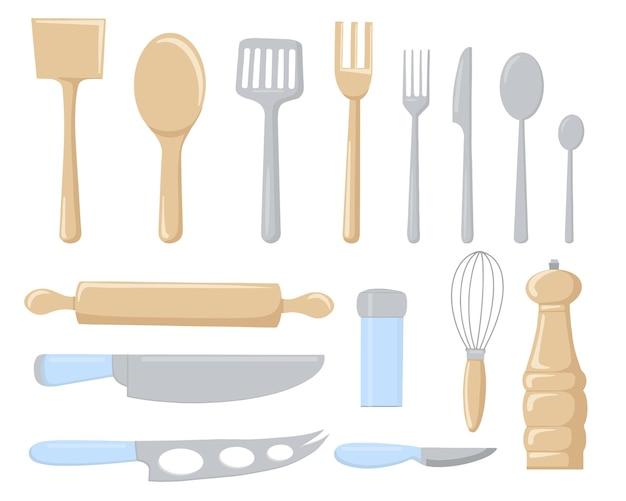 Conjunto de talheres e utensílios de cozinha para cozinhar