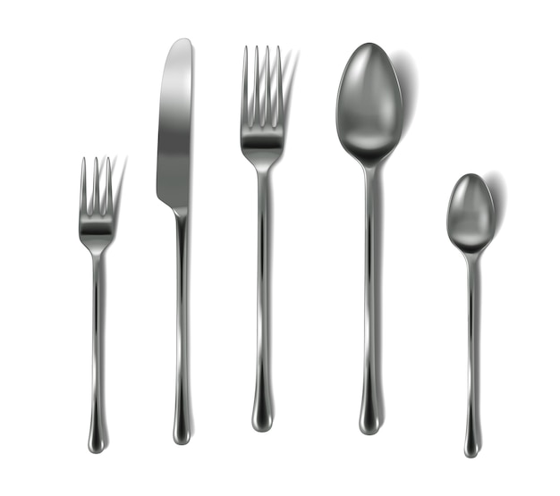 Conjunto de talheres realista. garfos de prata, faca e colheres para talheres. coleção de talheres.