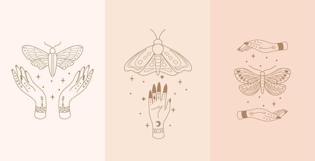 Conjunto de talismã celestial com mãos de mulher e mariposa