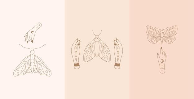 Conjunto de talismã celestial com mãos de mulher e traça. estilo boho