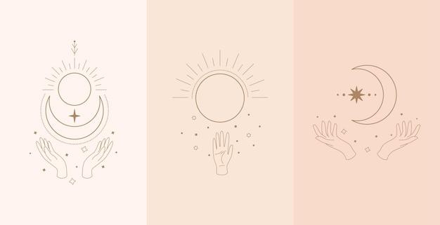 Conjunto de talismã celestial com mãos de mulher. ilustração no estilo boho