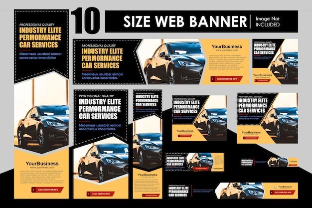 Conjunto de tamanhos de formato diferente de design de modelo de banner de negócios