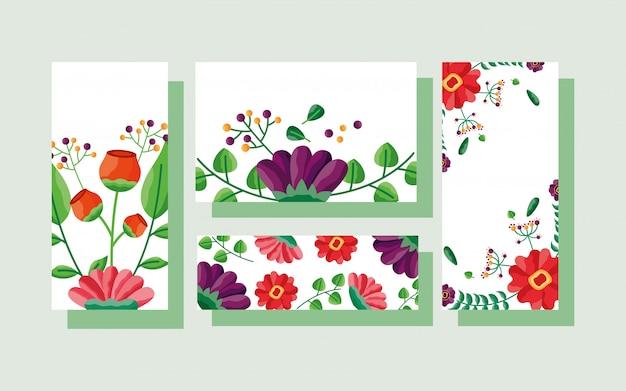 Conjunto de tamanhos diferentes de cartões com tema de flores