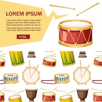 Conjunto de tambores coloridos com ícone de baquetas.