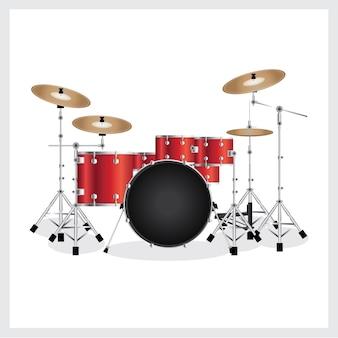 Conjunto de tambores de ilustração vetorial