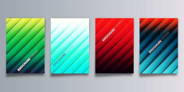 Conjunto de tampa colorida gradiente com sombras de linha