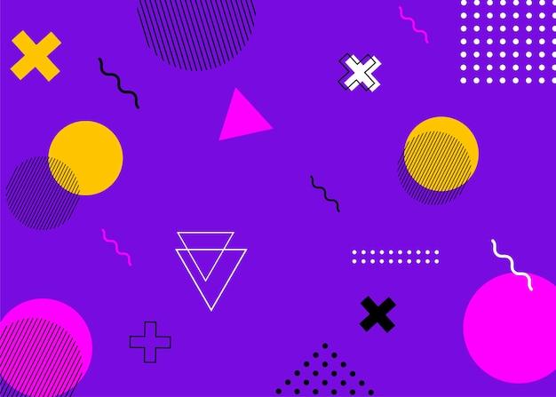 Conjunto de tampas de estilo memphis moderno. o fundo geométrico colorido pode ser usado para design de brochura, folheto, banner da web, cartaz de anúncios, revista, capa plana para web. illustartion vetorial.