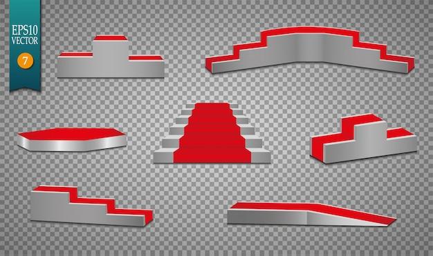 Conjunto de tapete vermelho e pódio