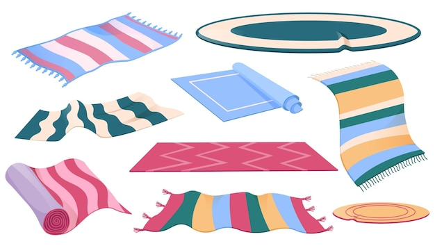 Conjunto de tapetes ou tapetes de diferentes formas, desenhos e cores
