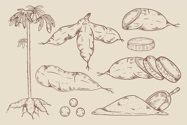 Conjunto de tapioca desenhado à mão