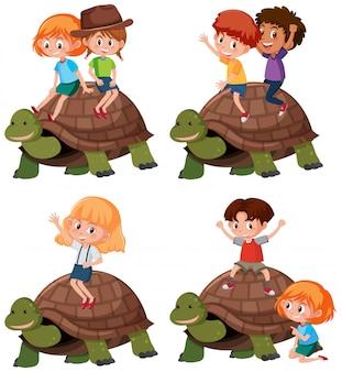 Conjunto de tartaruga de equitação de criança