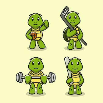 Conjunto de tartaruga fofa em modelo de vetor de ilustração de design de equipamento de esporte