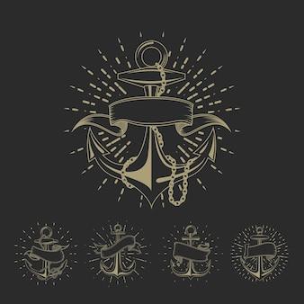 Conjunto de tatuagem de marinheiro marítimo da âncora ou coleção de ilustração náutica vintage. desenho de âncora marinha com ilustração de fita
