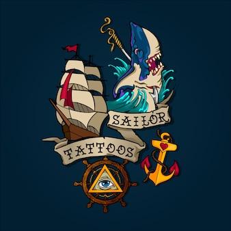 Conjunto de tatuagem de marinheiro