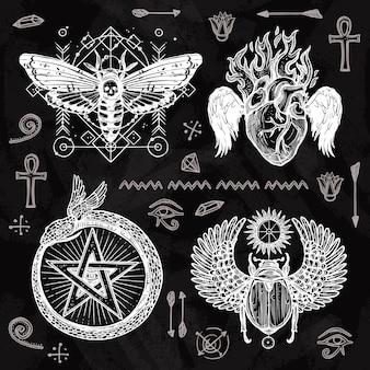 Conjunto de tatuagem de quadro-negro