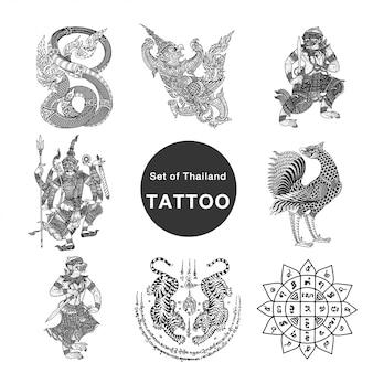 Conjunto de tatuagem de tailândia