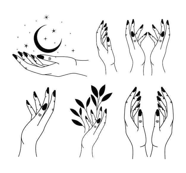 Conjunto de tatuagem minimalista de mãos