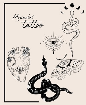 Conjunto de tatuagem minimalista