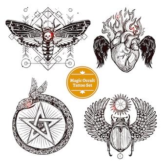 Conjunto de tatuagem oculto mágico