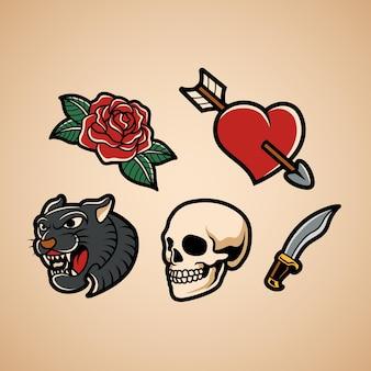 Conjunto de tatuagem tradicional