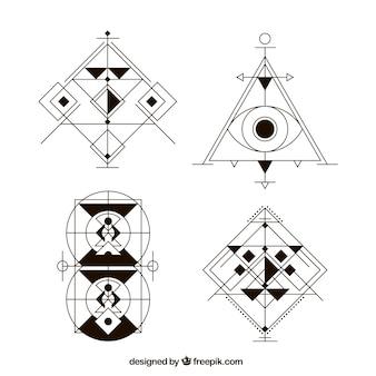 Conjunto de tatuagens abstratas com formas geométricas