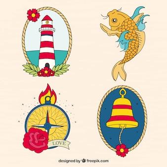 Conjunto de tatuagens de marinheiro coloridas desenhadas a mão