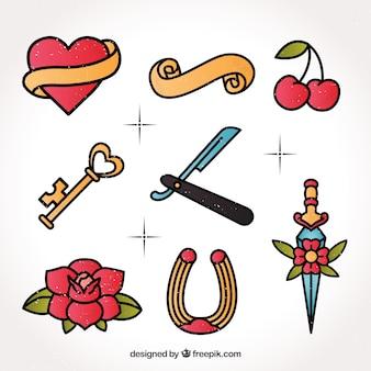 Conjunto de tatuagens desenhadas a mão