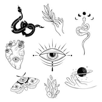 Conjunto de tatuagens minimalistas