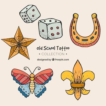Conjunto de tatuagens retro desenhadas a mão