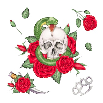 Conjunto de tatuagens retrô em estilo old school