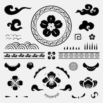 Conjunto de tatuagens temporárias de flores tradicionais chinesas negras