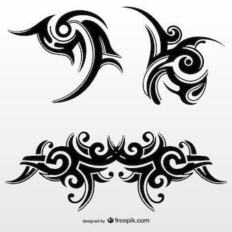 Conjunto de tatuagens tribais abstratas