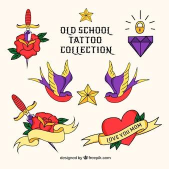 Conjunto de tatuagens vintage coloridas