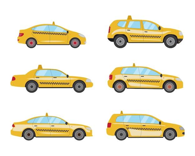 Conjunto de táxi amarelo