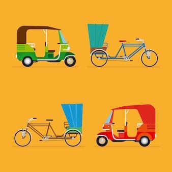 Conjunto de táxi de transporte de viagem, turismo e veículo