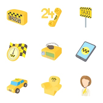 Conjunto de táxi, estilo cartoon